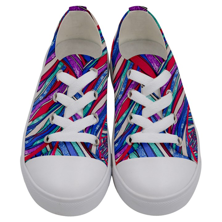 Texture Pattern Fabric Natural Kids  Low Top Canvas Sneakers