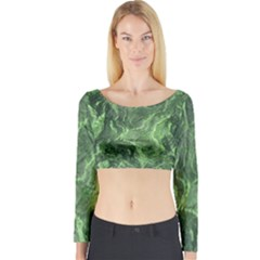 Geological Surface Background Long Sleeve Crop Top