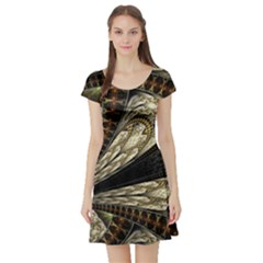 Fractal Abstract Pattern Spiritual Short Sleeve Skater Dress