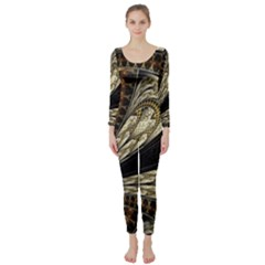 Fractal Abstract Pattern Spiritual Long Sleeve Catsuit