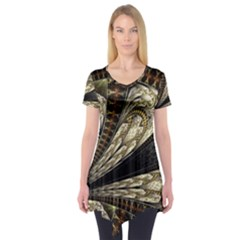 Fractal Abstract Pattern Spiritual Short Sleeve Tunic