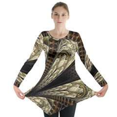 Fractal Abstract Pattern Spiritual Long Sleeve Tunic