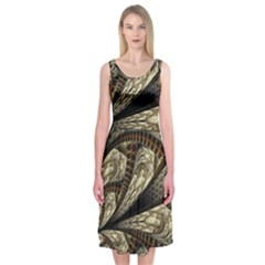 Fractal Abstract Pattern Spiritual Midi Sleeveless Dress