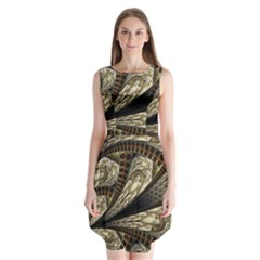 Fractal Abstract Pattern Spiritual Sleeveless Chiffon Dress