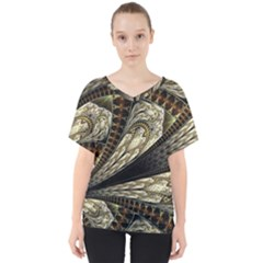 Fractal Abstract Pattern Spiritual V Neck Dolman Drape Top