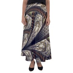 Fractal Abstract Pattern Spiritual Flared Maxi Skirt