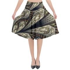 Fractal Abstract Pattern Spiritual Flared Midi Skirt