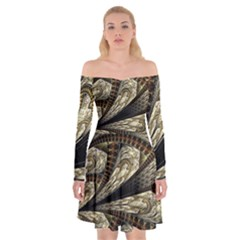 Fractal Abstract Pattern Spiritual Off Shoulder Skater Dress