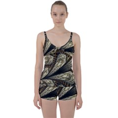 Fractal Abstract Pattern Spiritual Tie Front Two Piece Tankini