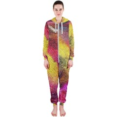 Background Art Abstract Watercolor Hooded Jumpsuit (ladies)