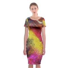 Background Art Abstract Watercolor Classic Short Sleeve Midi Dress