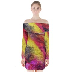 Background Art Abstract Watercolor Long Sleeve Off Shoulder Dress