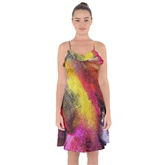 Background Art Abstract Watercolor Ruffle Detail Chiffon Dress