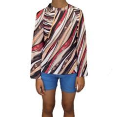 Fabric Texture Color Pattern Kids  Long Sleeve Swimwear
