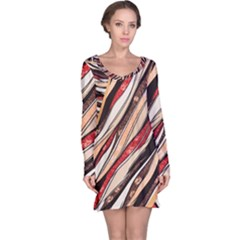 Fabric Texture Color Pattern Long Sleeve Nightdress
