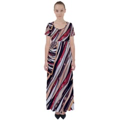 Fabric Texture Color Pattern High Waist Short Sleeve Maxi Dress