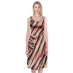 Fabric Texture Color Pattern Midi Sleeveless Dress