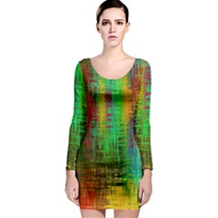 Color Abstract Background Textures Long Sleeve Bodycon Dress