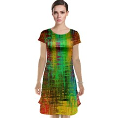 Color Abstract Background Textures Cap Sleeve Nightdress