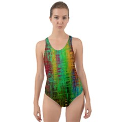 Color Abstract Background Textures Cut Out Back One Piece Swimsuit