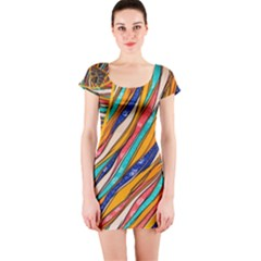Fabric Texture Color Pattern Short Sleeve Bodycon Dress