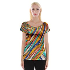 Fabric Texture Color Pattern Cap Sleeve Tops