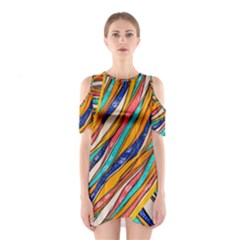 Fabric Texture Color Pattern Shoulder Cutout One Piece