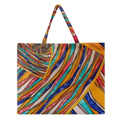 Fabric Texture Color Pattern Zipper Large Tote Bag