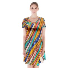 Fabric Texture Color Pattern Short Sleeve V Neck Flare Dress