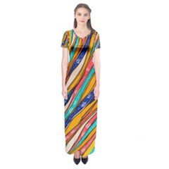 Fabric Texture Color Pattern Short Sleeve Maxi Dress