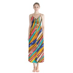 Fabric Texture Color Pattern Button Up Chiffon Maxi Dress