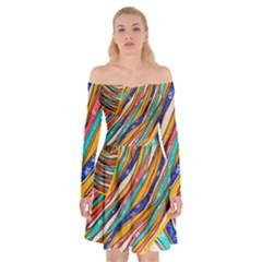 Fabric Texture Color Pattern Off Shoulder Skater Dress