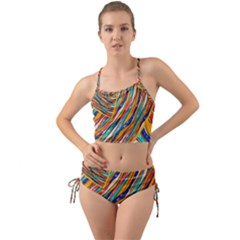 Fabric Texture Color Pattern Mini Tank Bikini Set
