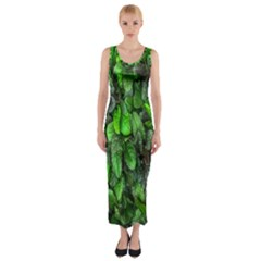 The Leaves Plants Hwalyeob Nature Fitted Maxi Dress