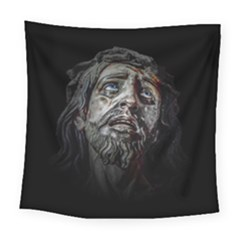 Jesuschrist Face Dark Poster Square Tapestry (large) by dflcprints