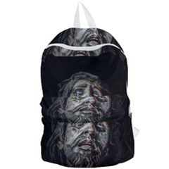 Jesuschrist Face Dark Poster Foldable Lightweight Backpack by dflcprints