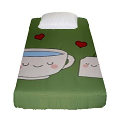 Cute Tea Fitted Sheet (single Size) by Valentinaart