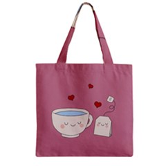 Cute Tea Zipper Grocery Tote Bag by Valentinaart