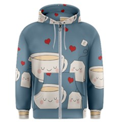 Cute Tea Men s Zipper Hoodie by Valentinaart