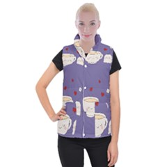 Cute Tea Women s Button Up Puffer Vest