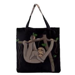 Cute Sloth Grocery Tote Bag by Valentinaart
