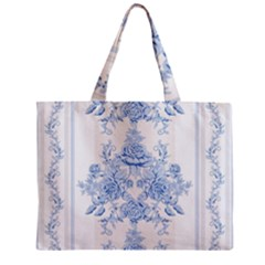 Beautiful,pale Blue,floral,shabby Chic,pattern Mini Tote Bag by 8fugoso