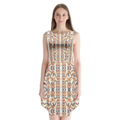 Multicolored Geometric Pattern  Sleeveless Chiffon Dress