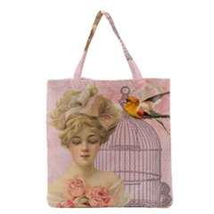 Woman 1079479 1920 Grocery Tote Bag by vintage2030