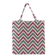 Chevron Blue Pink Grocery Tote Bag by vintage2030