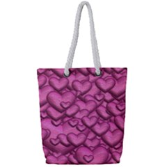 Shimmering Hearts Pink Full Print Rope Handle Tote (small)
