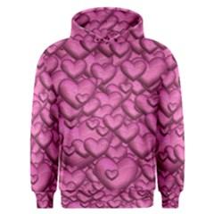 Shimmering Hearts Pink Men s Overhead Hoodie