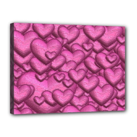Shimmering Hearts Pink Canvas 16  X 12  by MoreColorsinLife