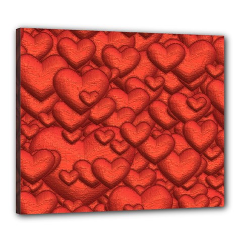 Shimmering Hearts Deep Red Canvas 24  X 20  by MoreColorsinLife