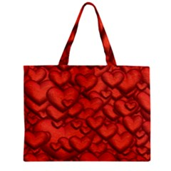 Shimmering Hearts Deep Red Zipper Mini Tote Bag by MoreColorsinLife